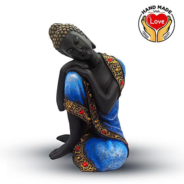 Resin Boy Buddha Blue Figurine