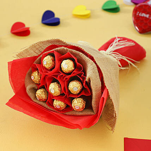 Online Ferrero Rochers Bouquet:Chocolate Bouquet  For Valentine's Day