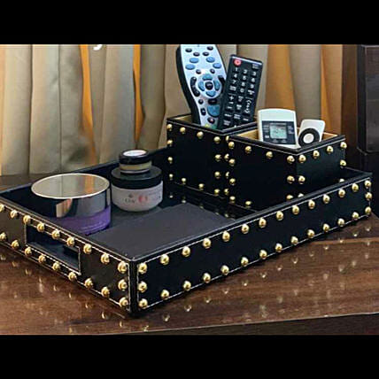 Black Leatherette Studded Black  Tray With Box:Wedding Gifts for Friend