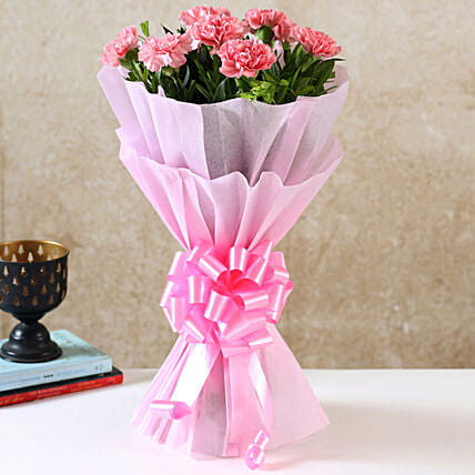 Pink Carnations N Love:Send Flower Bouquet For Anniversary
