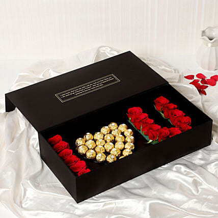 I Heart You Red Roses Chocolate Box