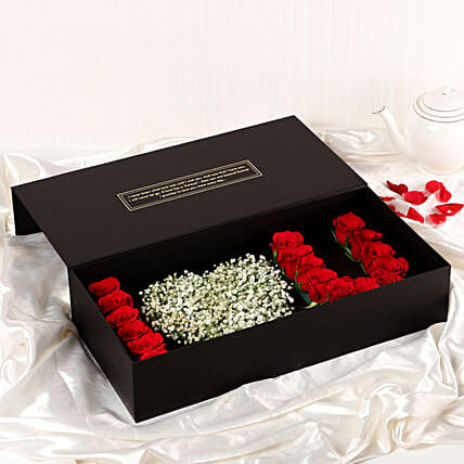 online special I heart you roses box