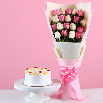 21 roses bouquet pineapple cake combo