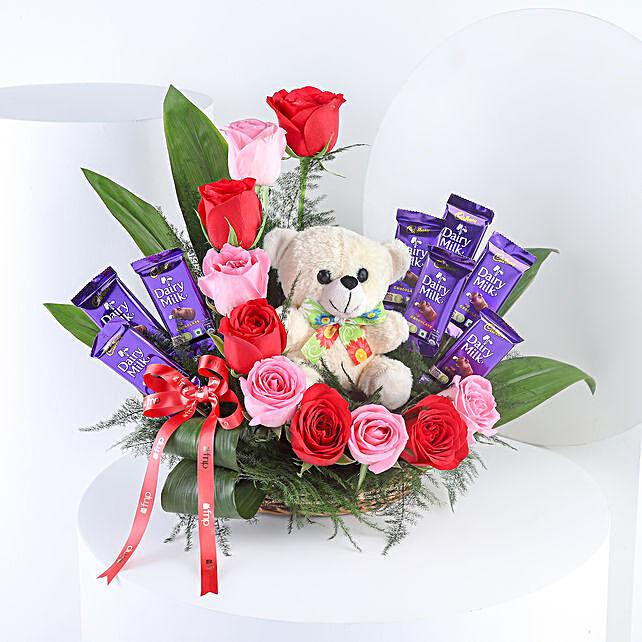 Romantic Mixed Roses Chocolate Surprise