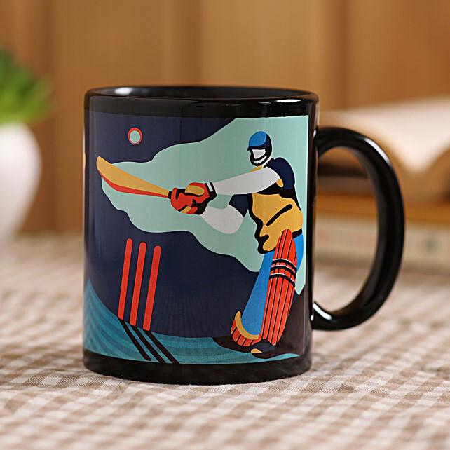 The Cricketer Black Mug