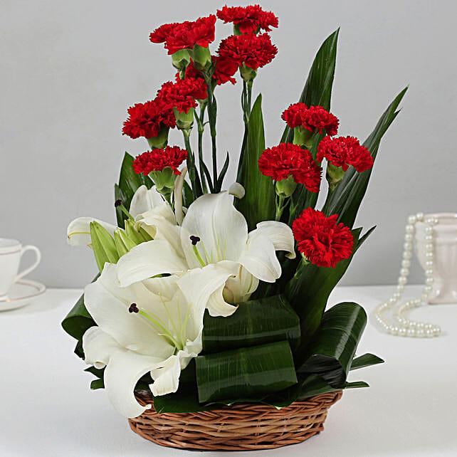 Carnations & Oriental Lilies Cane Basket Arrangement