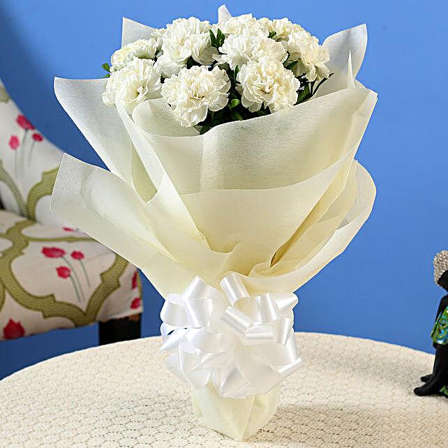 12 White Carnations Bouquet Medium