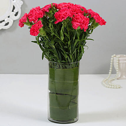 15 Pink Carnations in Glass Vase