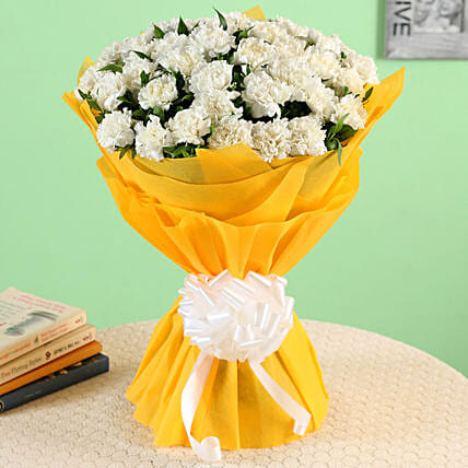 45 White Carnations Bouquet Large