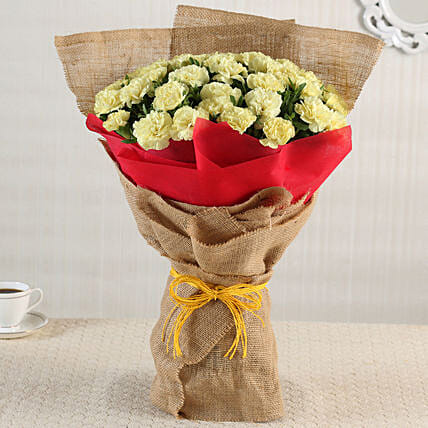 45 Yellow Carnations Bouquet Large
