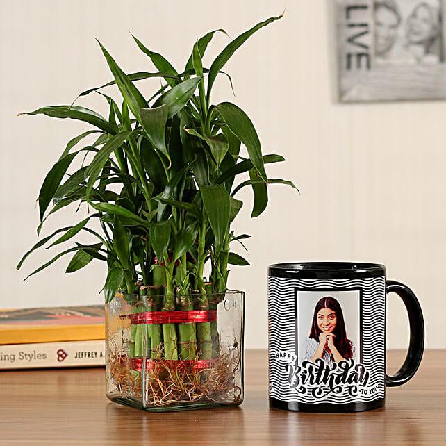 2 Layer Bamboo Personalised Bday Black Mug