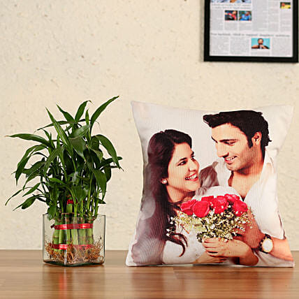 layer bamboo with personalised cushion:Plants N Personalised Gifts