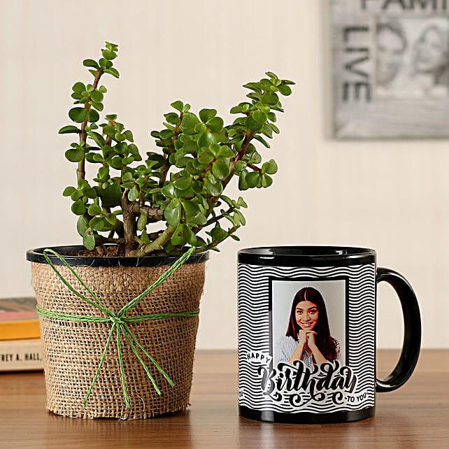 Jade Plant Personalised Black Bday Mug