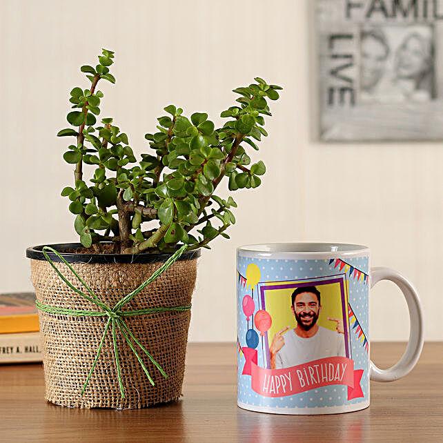 jade plant with bday mug for him