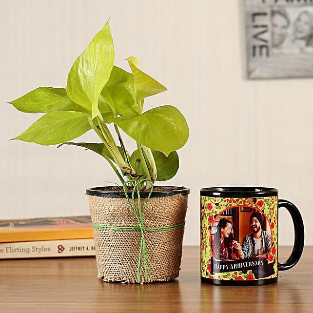 Money Plant Personalised Black Mug