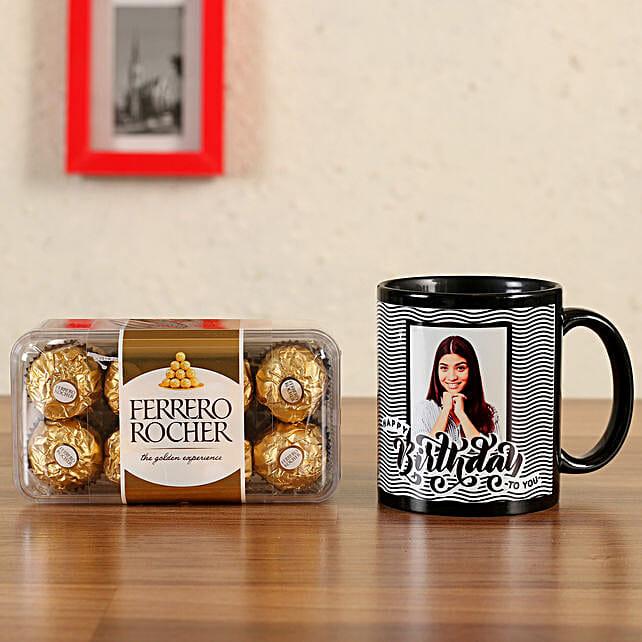 Personalised Black Bday Mug Ferrero Rocher 16 Pcs