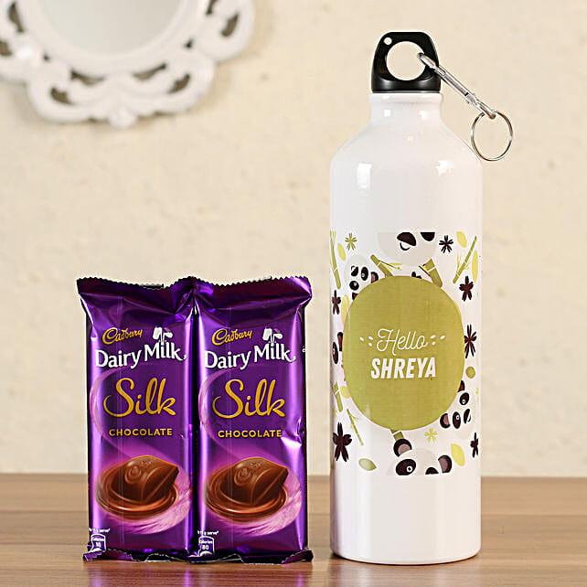 personalised bottle with cadbury silk