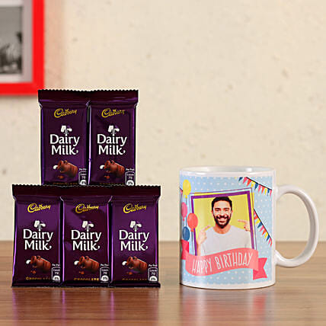 Personalised White Bday Mug Dairy Milk