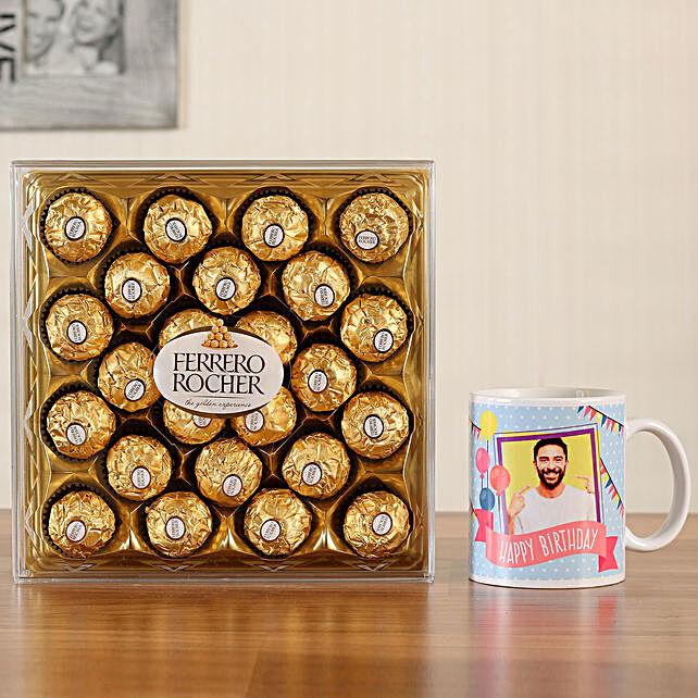 Personalised White Bday Mug Ferrero Rocher 24 Pcs