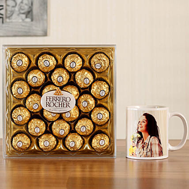 Personalised White Mug Ferrero Rocher 24 Pcs