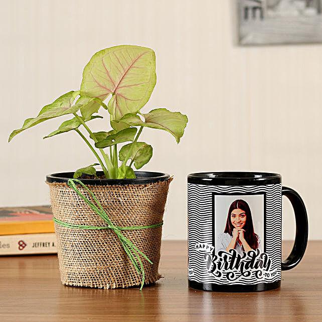Syngonium Plant Personalised Black Bday Mug