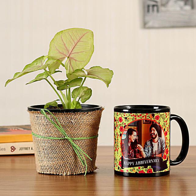 Syngonium Plant Personalised Black Mug
