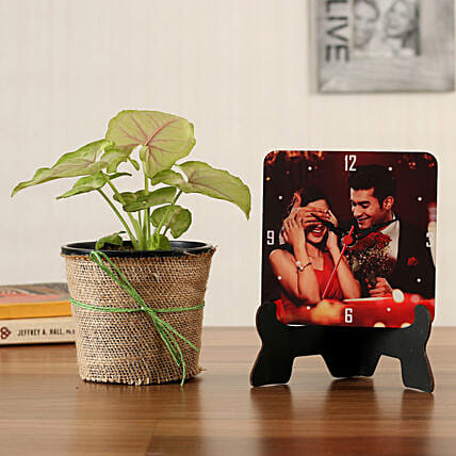 Syngonium Plant Personalised Table Clock