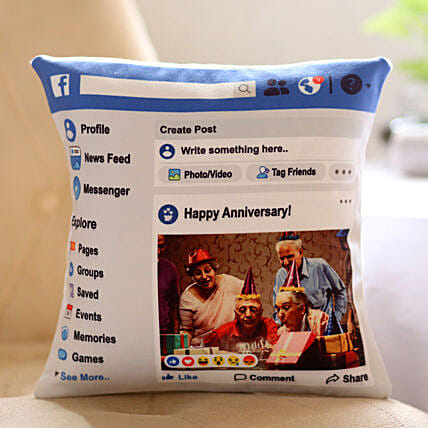 Personalised Facebook Anniversary Cushion Hand Delivery