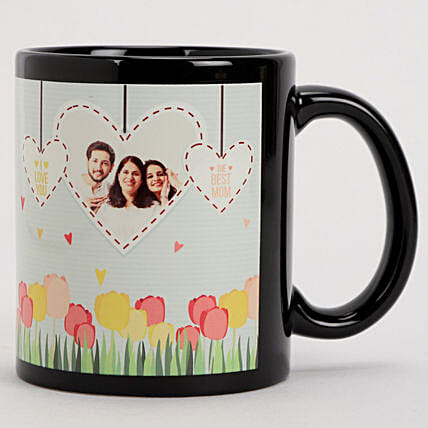 Personalised Hearts Flowers Black Mug Hand Delivery