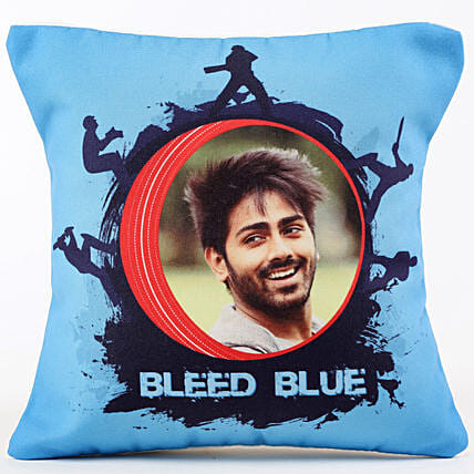 Personalised Team Bleed Blue Cushion Hand Delivery