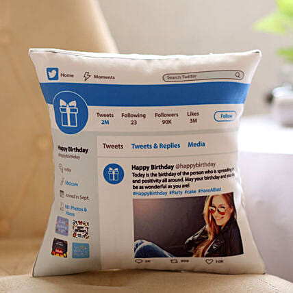 Personalised Twitter Birthday Cushion Hand Delivery