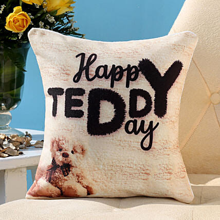 Happy Teddy Day Cushion Hand Delivery
