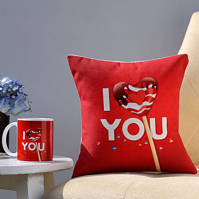 I Love You Coffee Mug & Cushion Combo Hand Delivery