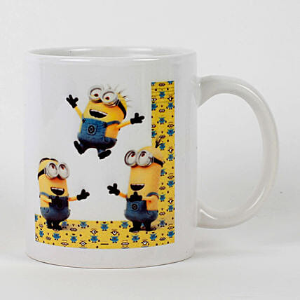 Jumping Minions Printed White Mug Hand Delivery