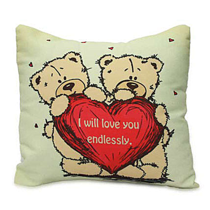 Cute Teddy With Message Cushion Hand Delivery