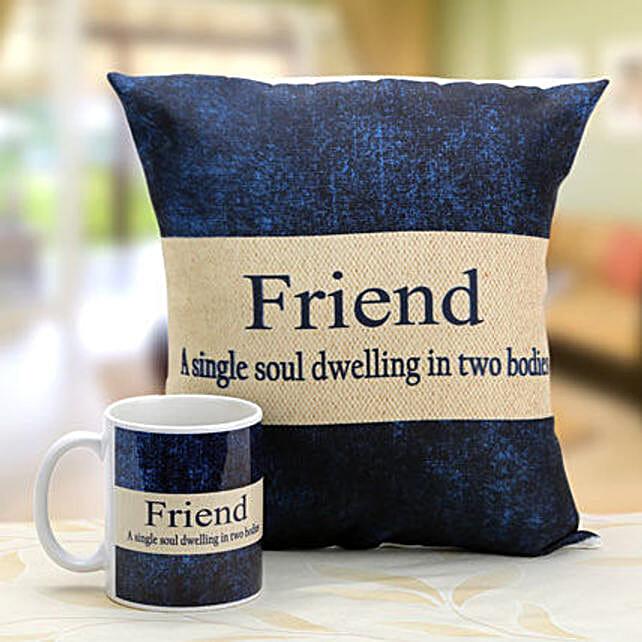 Denim Print Mug And Cushion Hand Delivery