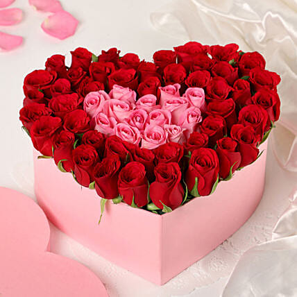 Pink Red Roses Heart Box