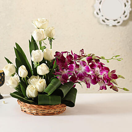 Online White Roses & Orchids
