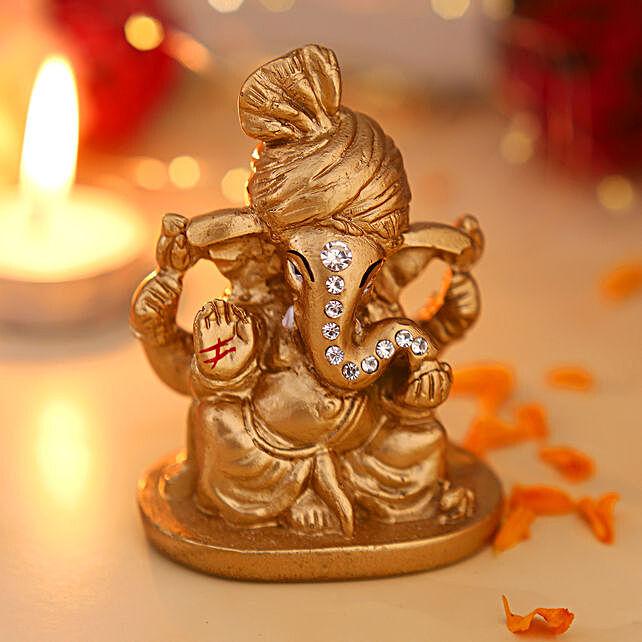 online Pagdi Wale Ganesha Ji Idol- Golden:Ganesh Idols
