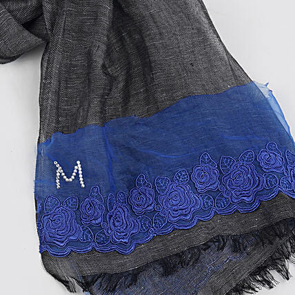 Online Blue and Grey Customised Scarf