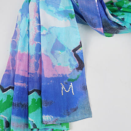 Online Cheerful Blues Customised Scarf:Scarves And Stoles