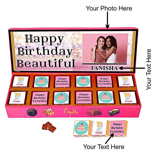 happy birthday chocolate customised for her:Personalised Chocolates