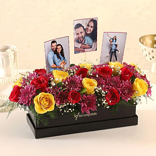 Online Customised Rectangular FNP Floral Box Arrangement:Flowers N Personalised Gifts
