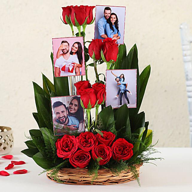 Online Customised Red Roses Basket Arrangement