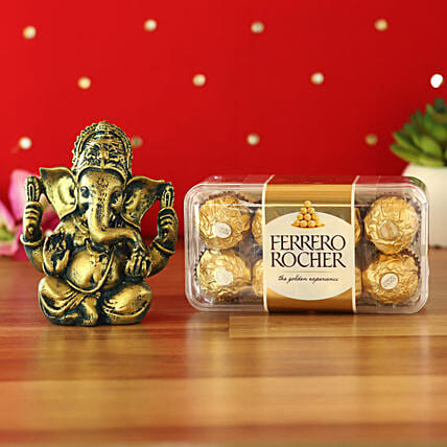 Raja Ganesha Idol & Ferrero Rocher Combo