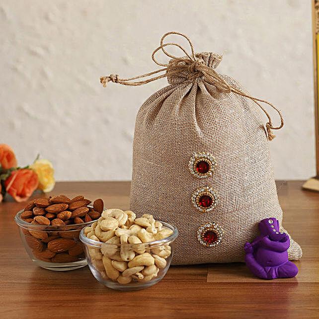 Online Purple Ganesha Idol & Dry Fruits In Jute Potli:Ganesh Idols