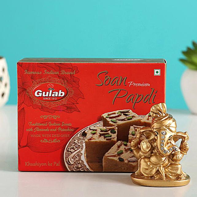 Golden Ganesha Idol & Soan Papdi Combo
