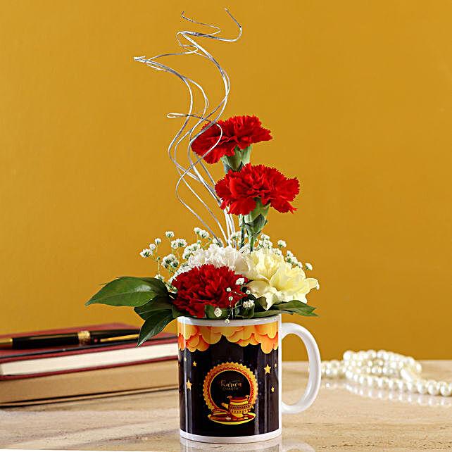 Mixed Carnations In Karwa Chauth Printed Mug