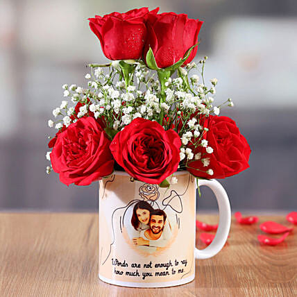 Red Roses In White Personalised Mug:All Gifts Karwa Chauth