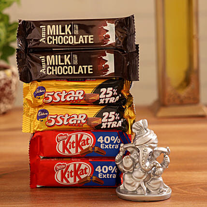 Online  Ganesha Idol and Chocolates:Diwali Combos